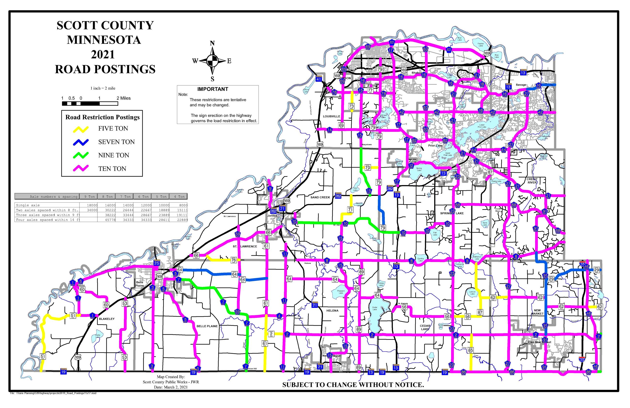 2021 Road Restrictions Map